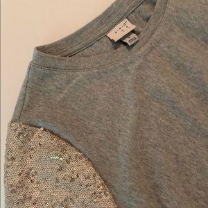Sequin Sleeve Medium A New Day Grey T-shirt